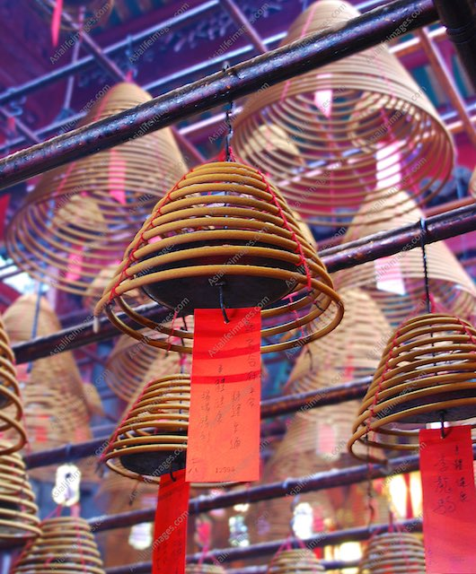 hanging incenses in temple